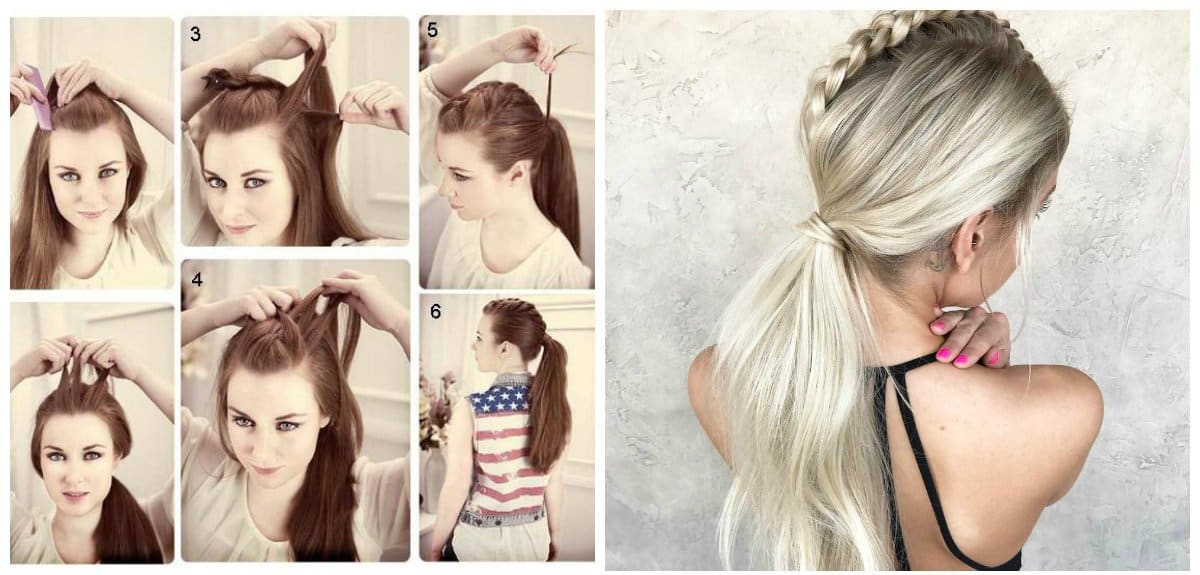 updos for long hair, stylish ponytail with scythe of 5 locks