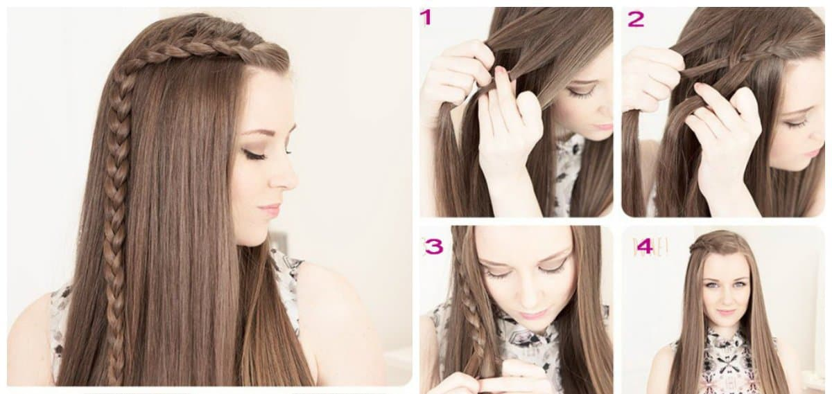 updos for long hair, hairstyle with scythe from forehead