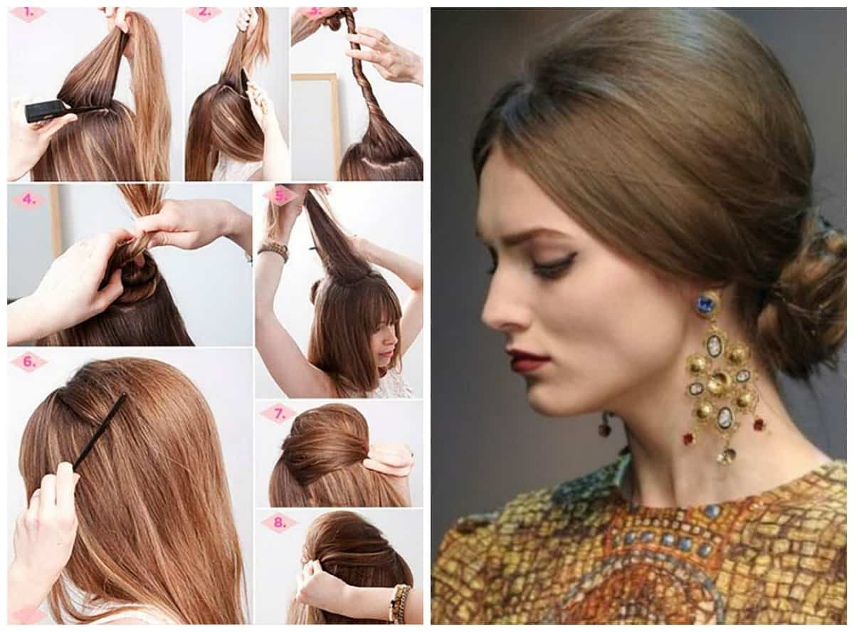 updos for long hair, stylish voluminous hairstyle with fleece