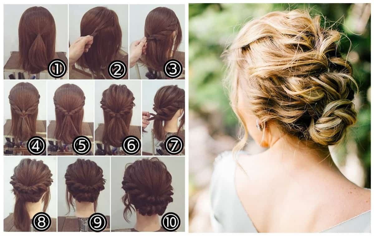 updos for medium hair, stylish delicate shell for medium hair