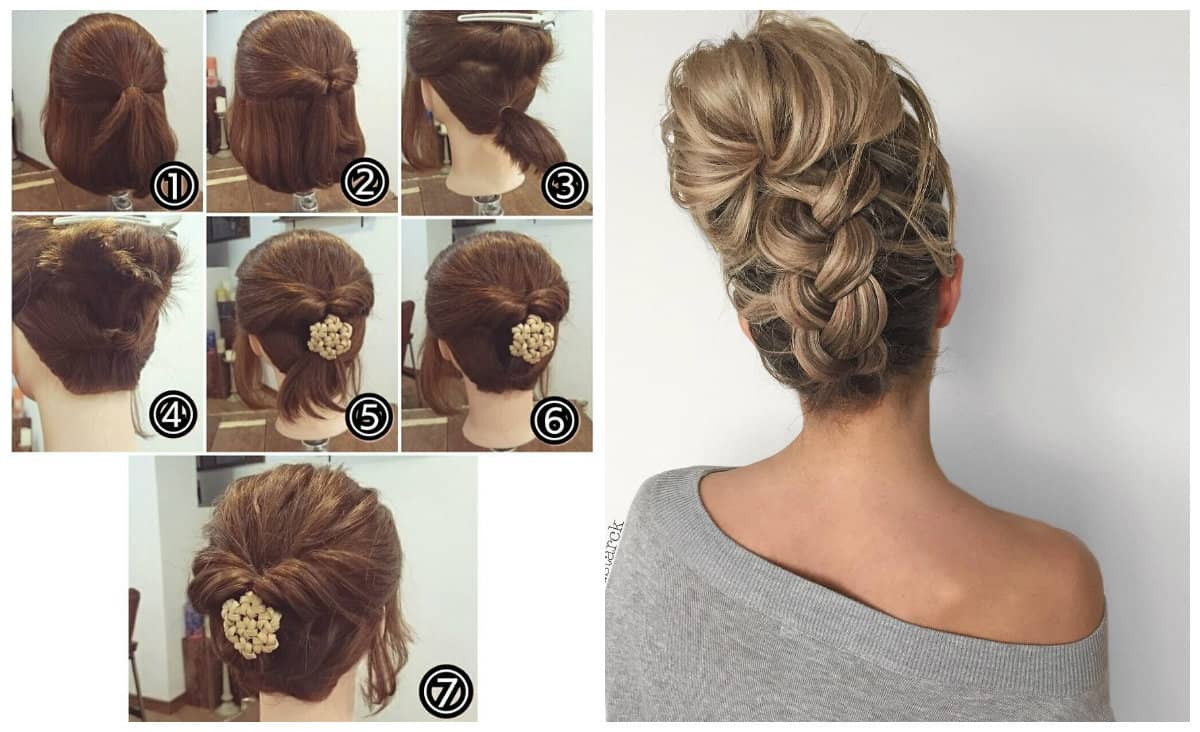 updos for medium hair, stylish hairstyle on the contrary