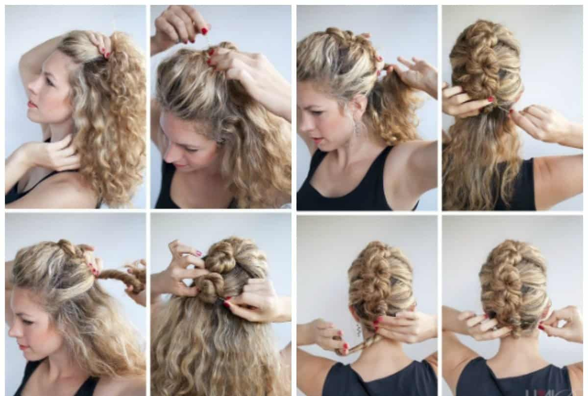 updos for medium hair, volumetric spikelet without weaving