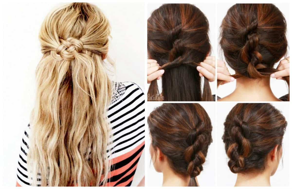 upstyles for long hair, stylish beam from knots