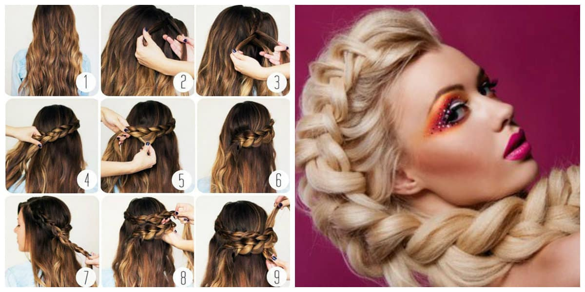 upstyles for long hair, stylish loose hair with scythe