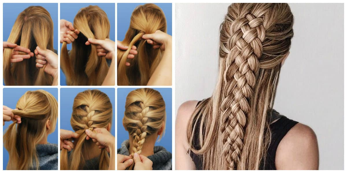 upstyles for long hair, fashionable hairstyle with spikelet