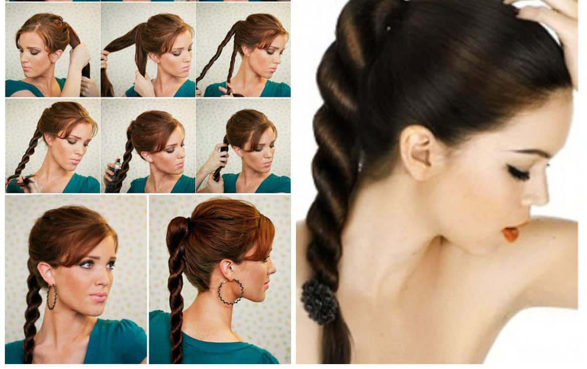upstyles for long hair, fashionable tail-rope for long hair