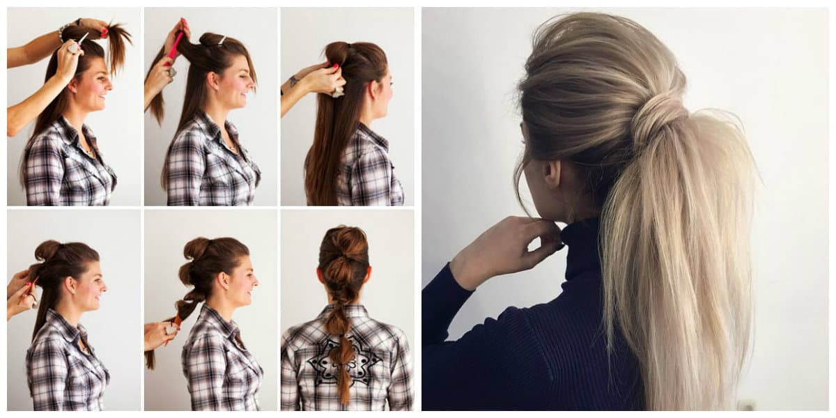 upstyles for long hair, stylish tier tail for long hair