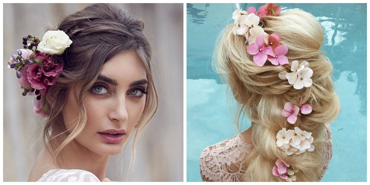 wedding updos for long hair, flowers and wreaths in wedding updos for long hair