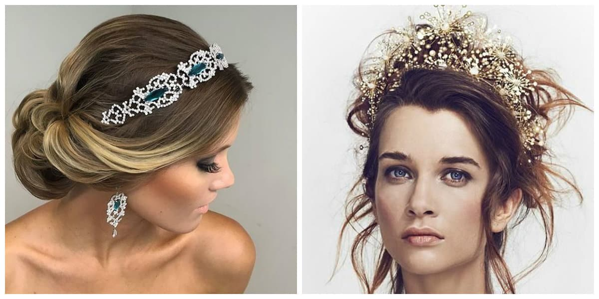 wedding updos for long hair, stylish wedding hairstyles with crown