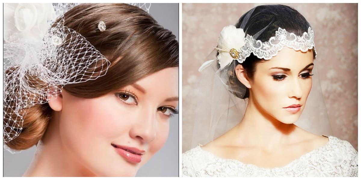 wedding updos for long hair, stylish wedding hairstyle with veil