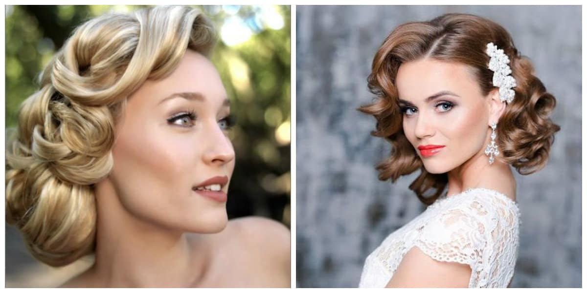 wedding updos for long hair, stylish retro wedding hairstyles in 40s