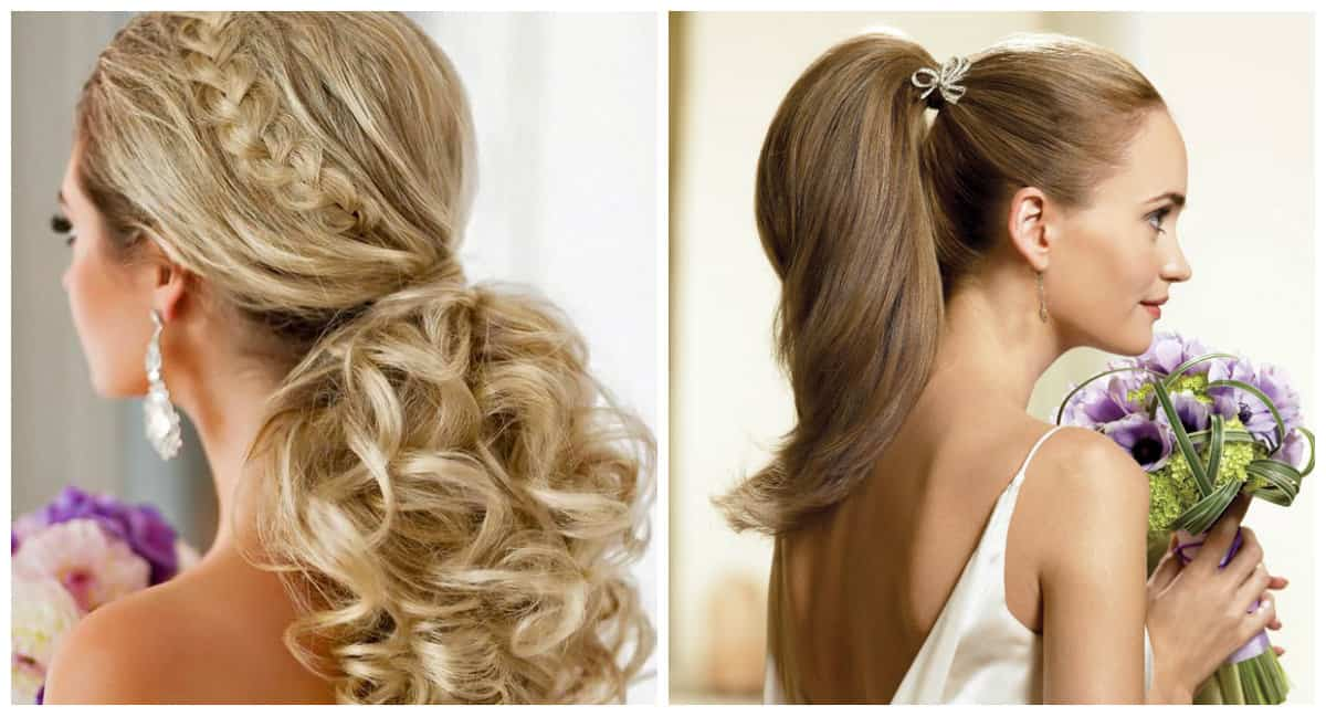 wedding updos for long hair, stylish tail for wedding hairstyles