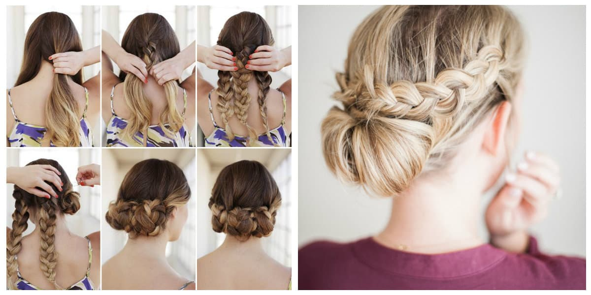 cute updos for long hair, stylish fishtail upstyle