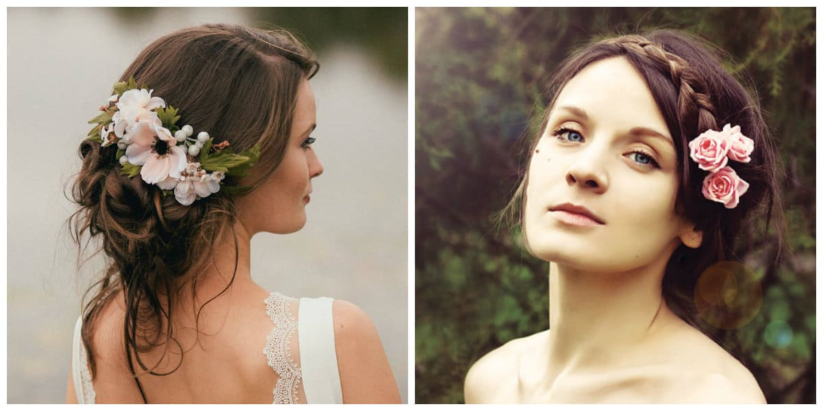cute updos for long hair, flower in hair upstyle