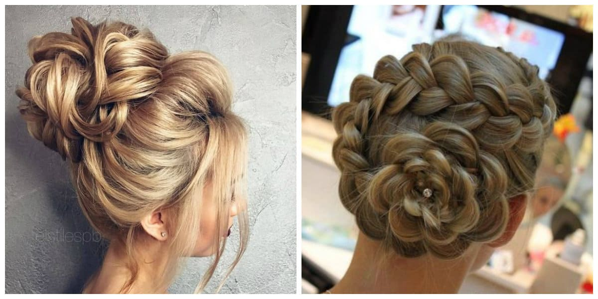 cute updos for long hair, upstyles flower made from hair