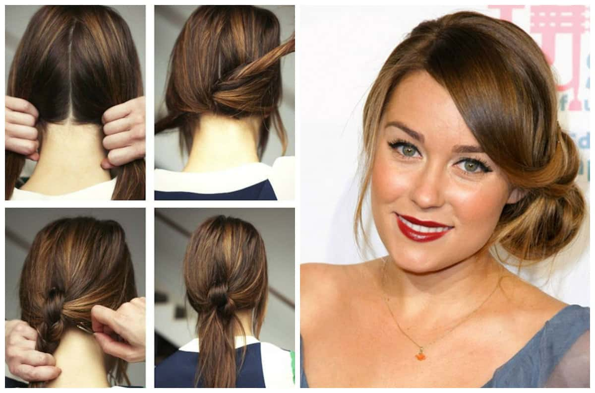 cute updos for long hair, low tail, free spit on side