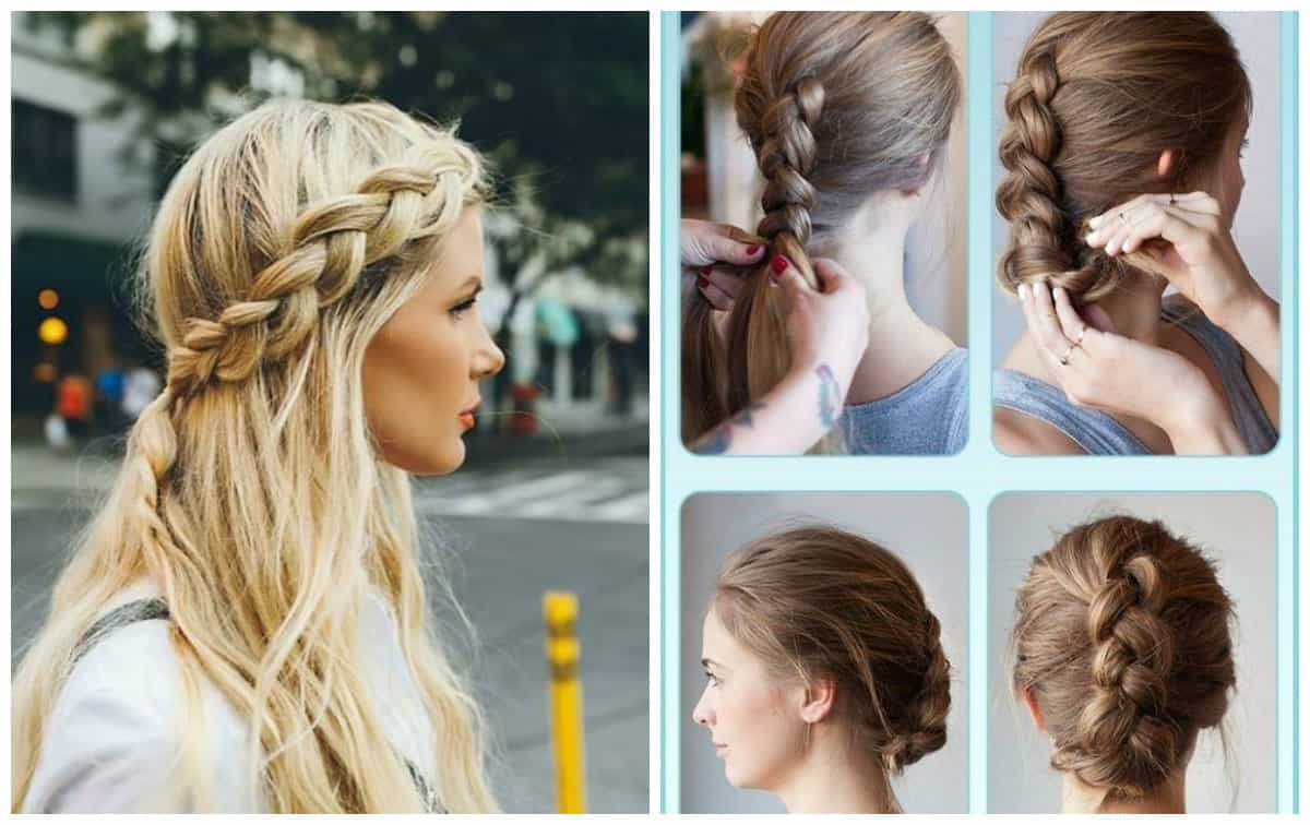 cute updos for long hair, spit around head, Dutch spit