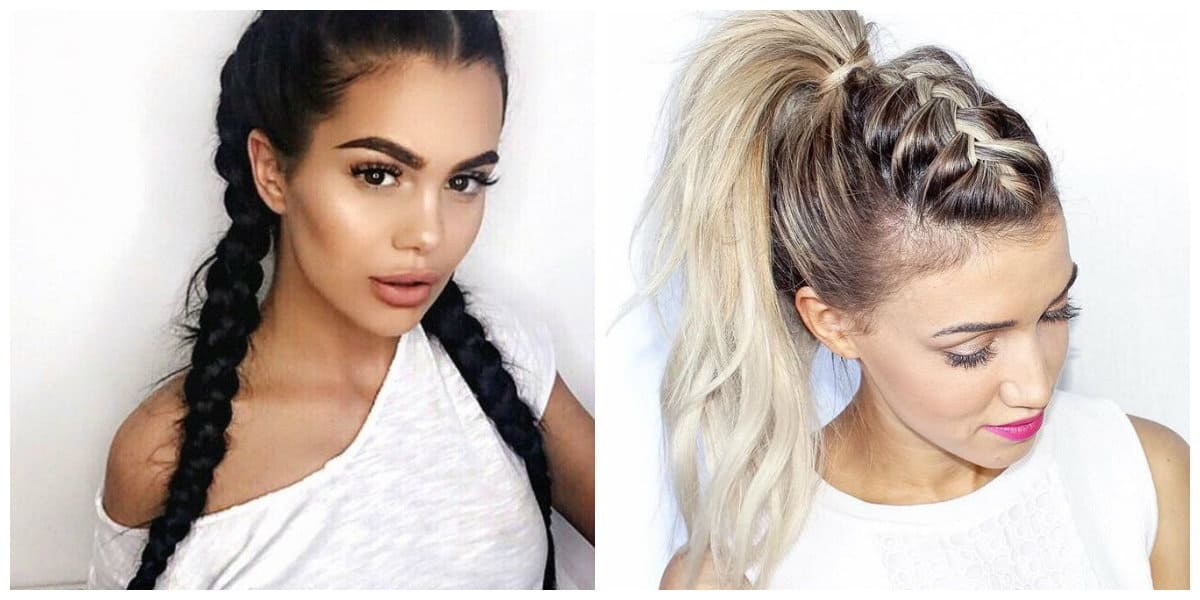 cute updos for long hair, two braids, high tail updo