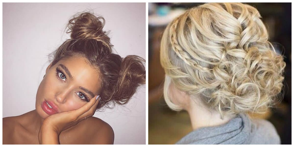 cute updos for long hair, two buns, volumetric spit updo
