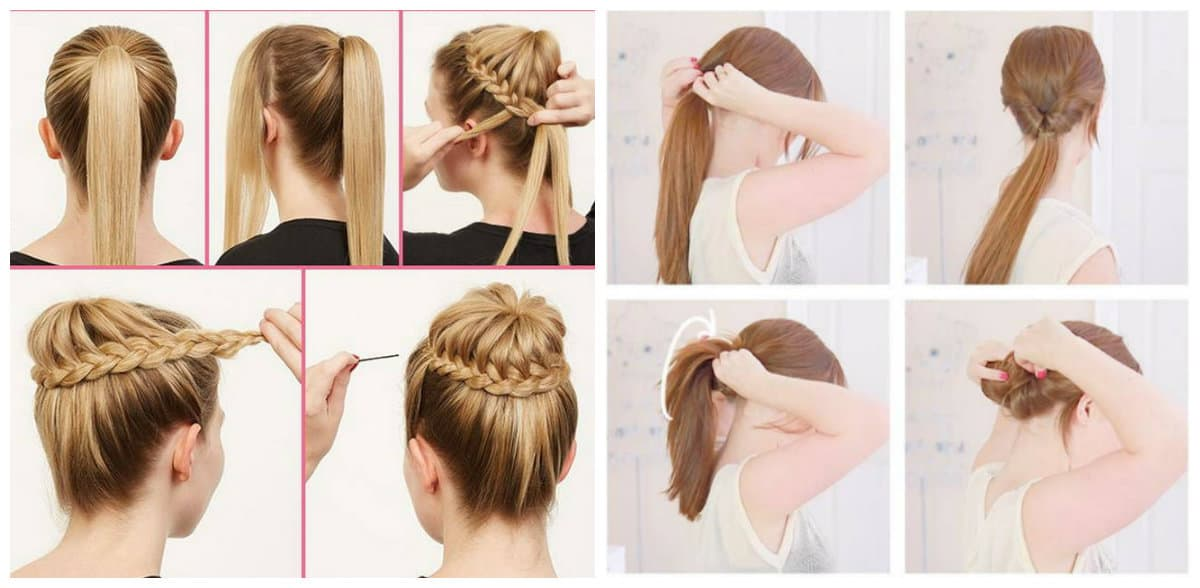 easy upstyles for long hair, bunch of ballerinas, trendy gibson updo