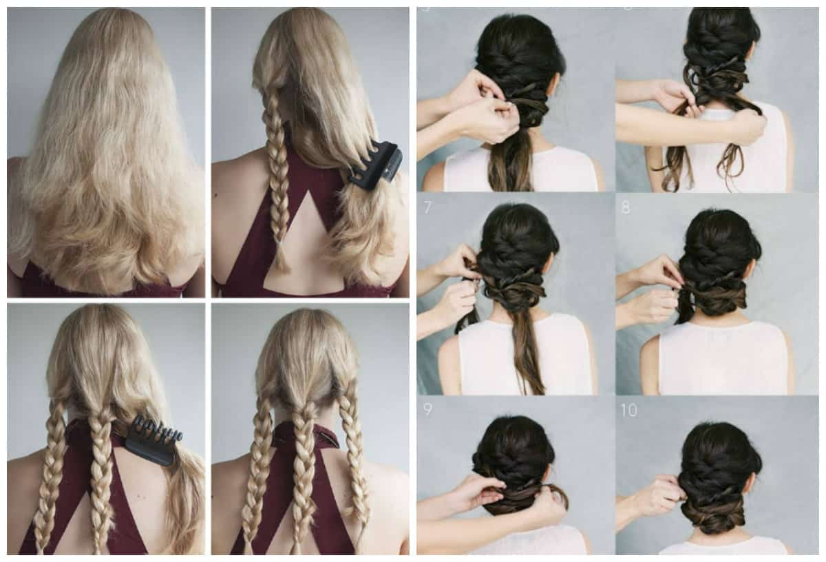 easy upstyles for long hair, fashionable triple spit, curled spit