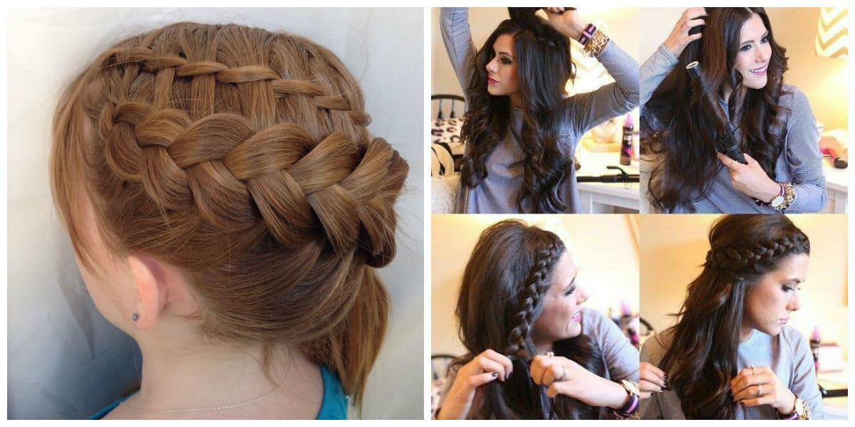 fancy hairstyles for long hair, stylish French scythe updo