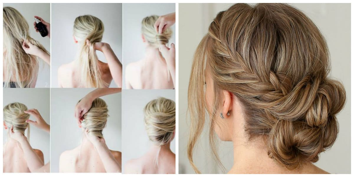 fancy hairstyles for long hair, French twist, bundle wrapped in fishtail