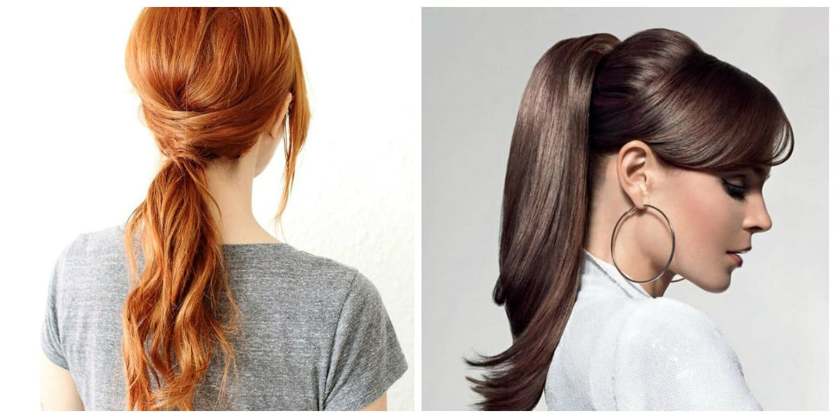 fancy hairstyles for long hair, elegant horse tail upstyle