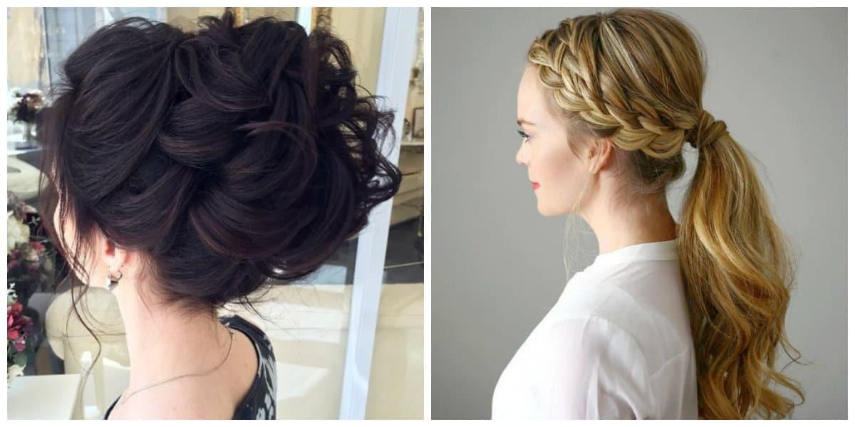 fancy hairstyles for long hair, horsetail updo, voluminous chignon updo