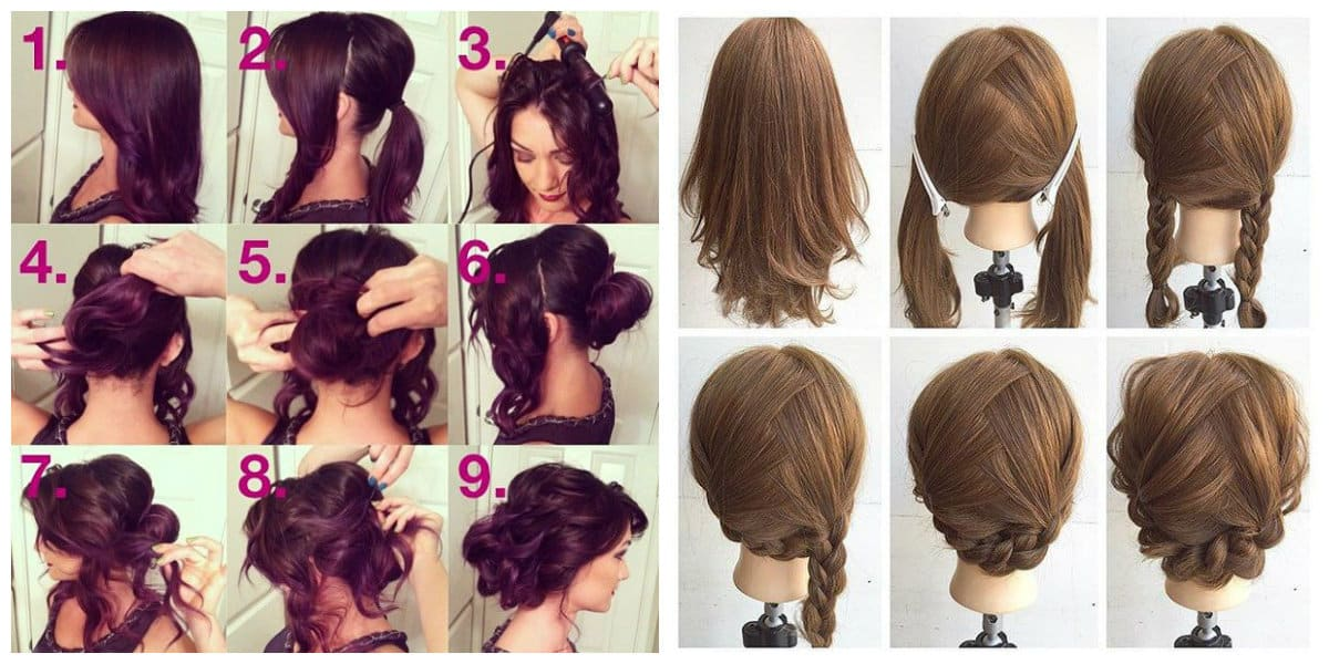 fancy hairstyles for long hair, updo with scythe, piglet fishtail updo