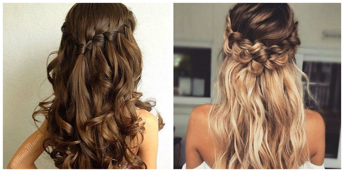 fancy hairstyles for long hair, stylish spit waterfall