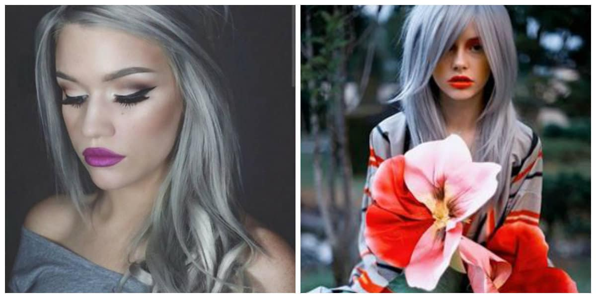 granny hair 2019, stylish hues of gray and tips on painting technique