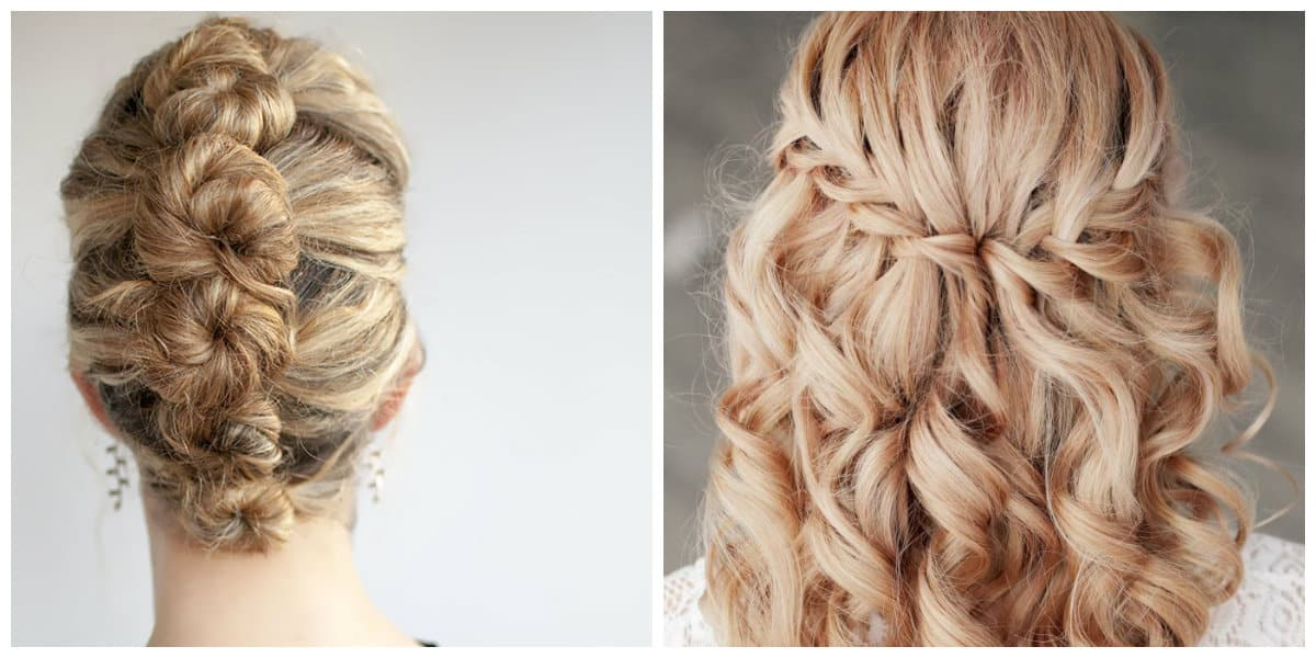 long curly hair 2019, fashionable French twist, stylish French waterfall