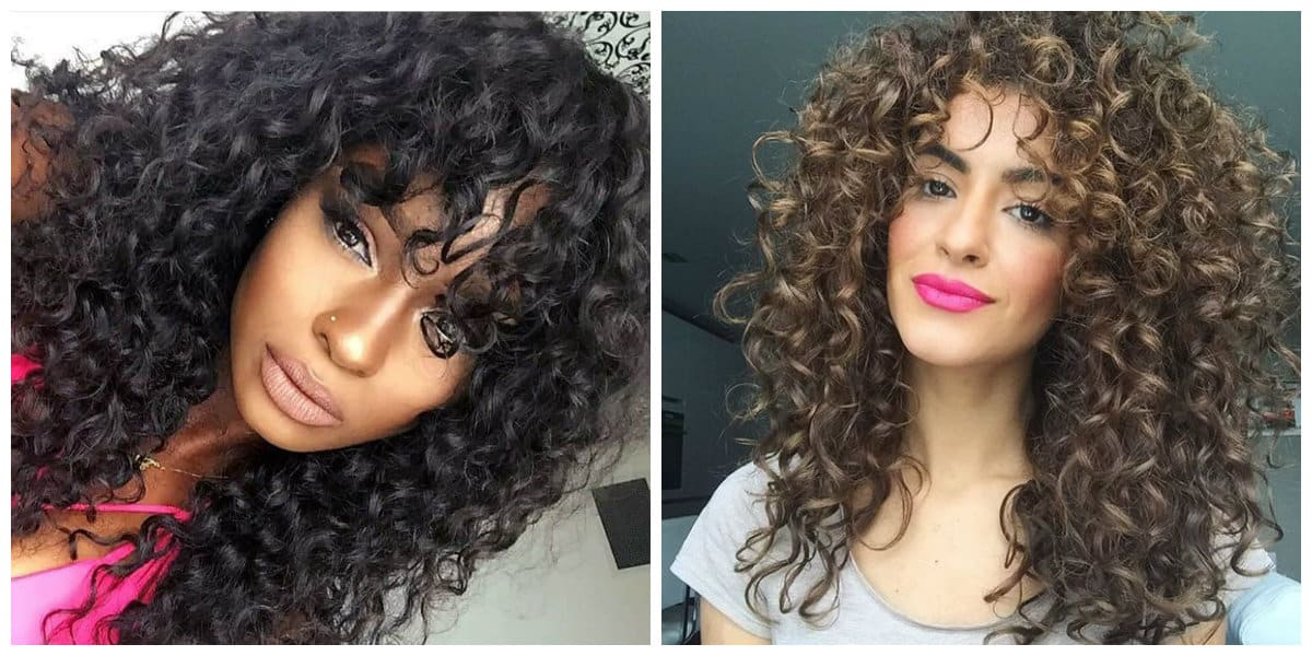 long curly hair 2019, fashionable curly hair with bangs