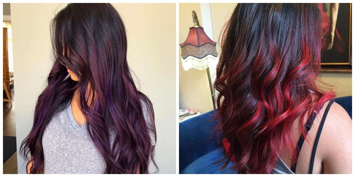 balayage hair color 2019, eggplant and burgundy balayage hair, red and black balayage hair