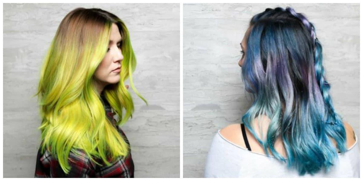 balayage hair color 2019, green balayage hair, blue balayage hair
