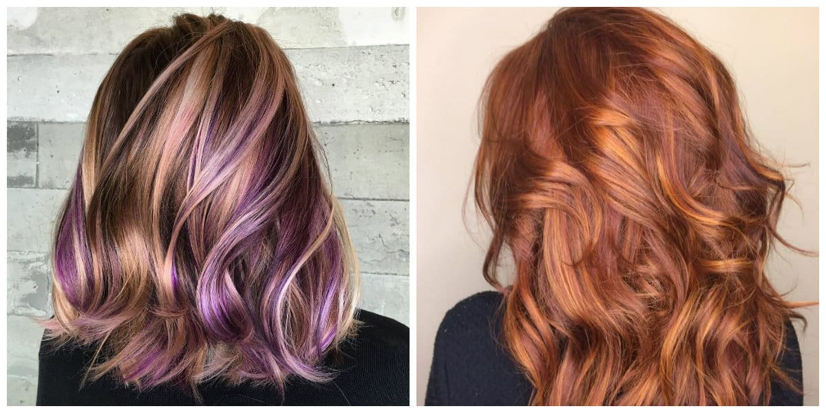 caramel hair 2019, caramel and orange hair, caramel and violet hair
