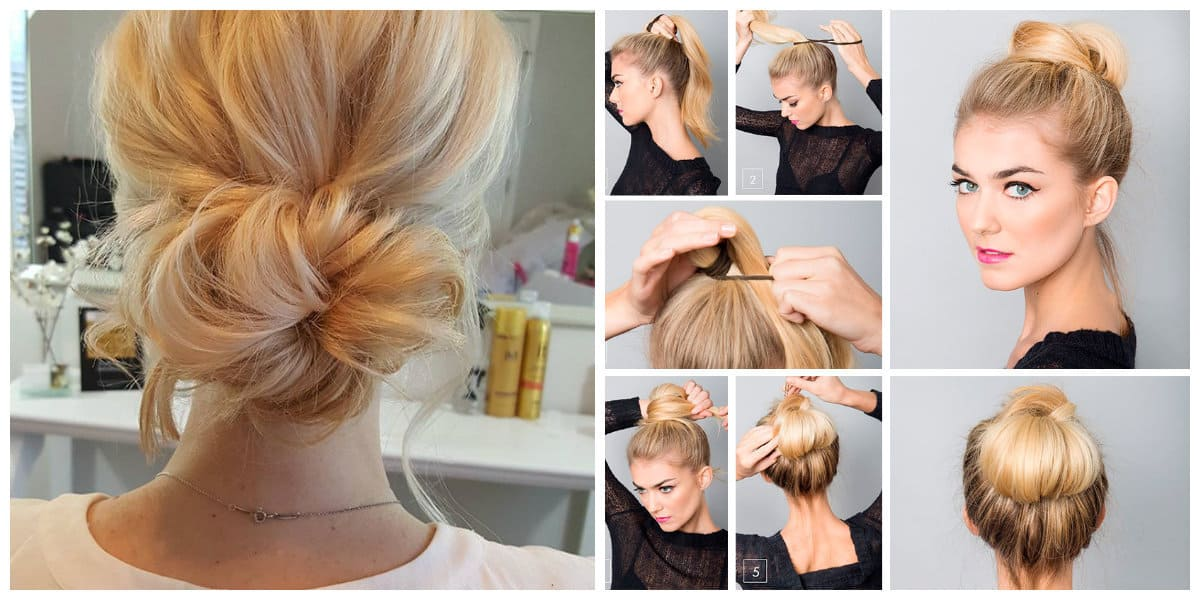 easy hairstyles 2019, fashionable bun of harnesses hairdo 2019