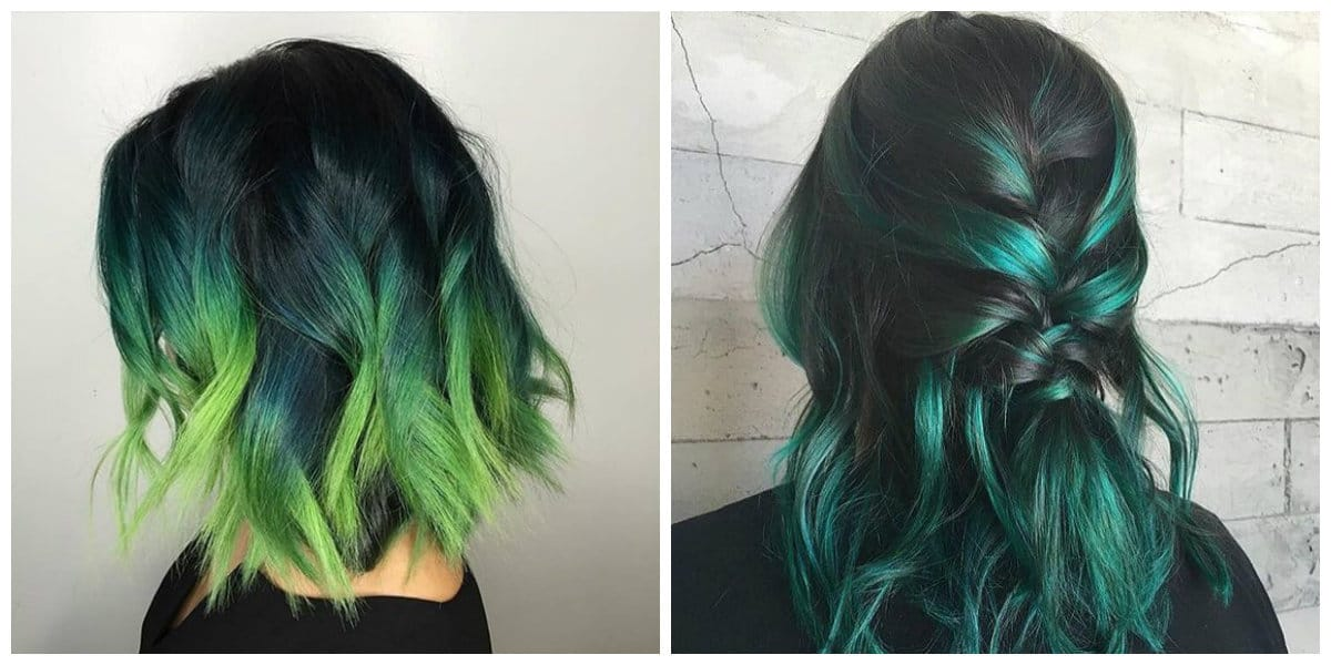 green hair 2019, ombre green hair 2019, highlights green hair 2019