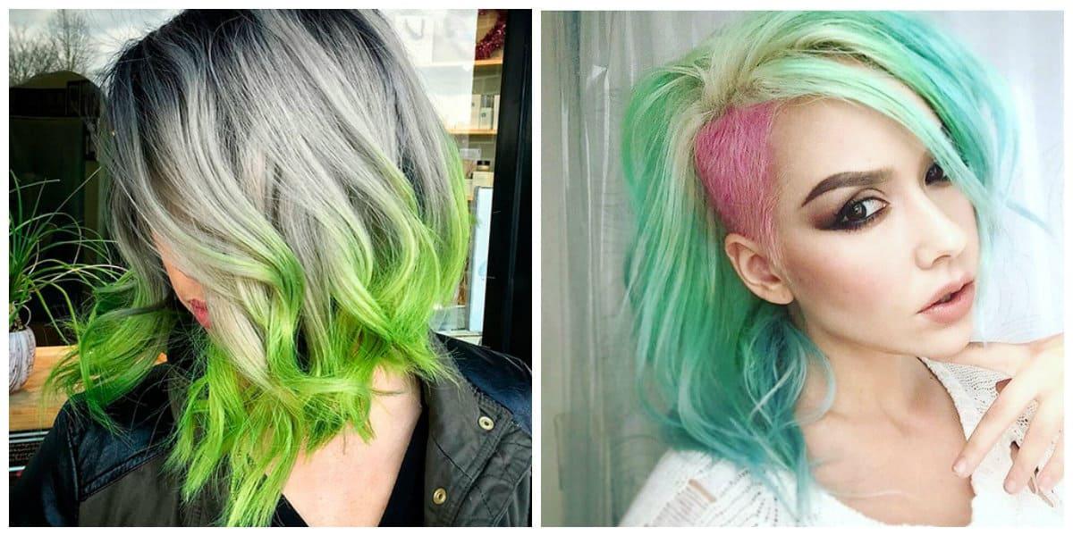 green hair 2019, pink and green hair 2019, gray and green hair 2019