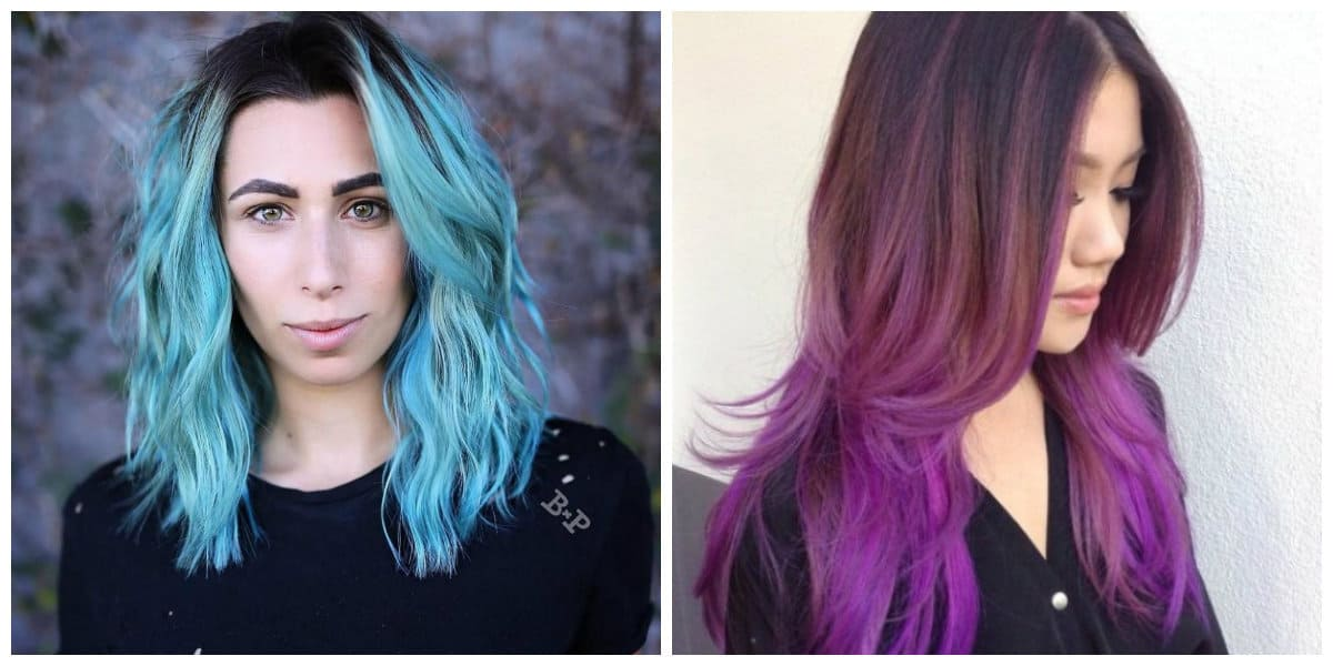 haircuts for long hair 2019, stylish blue hair, trendy purple hair