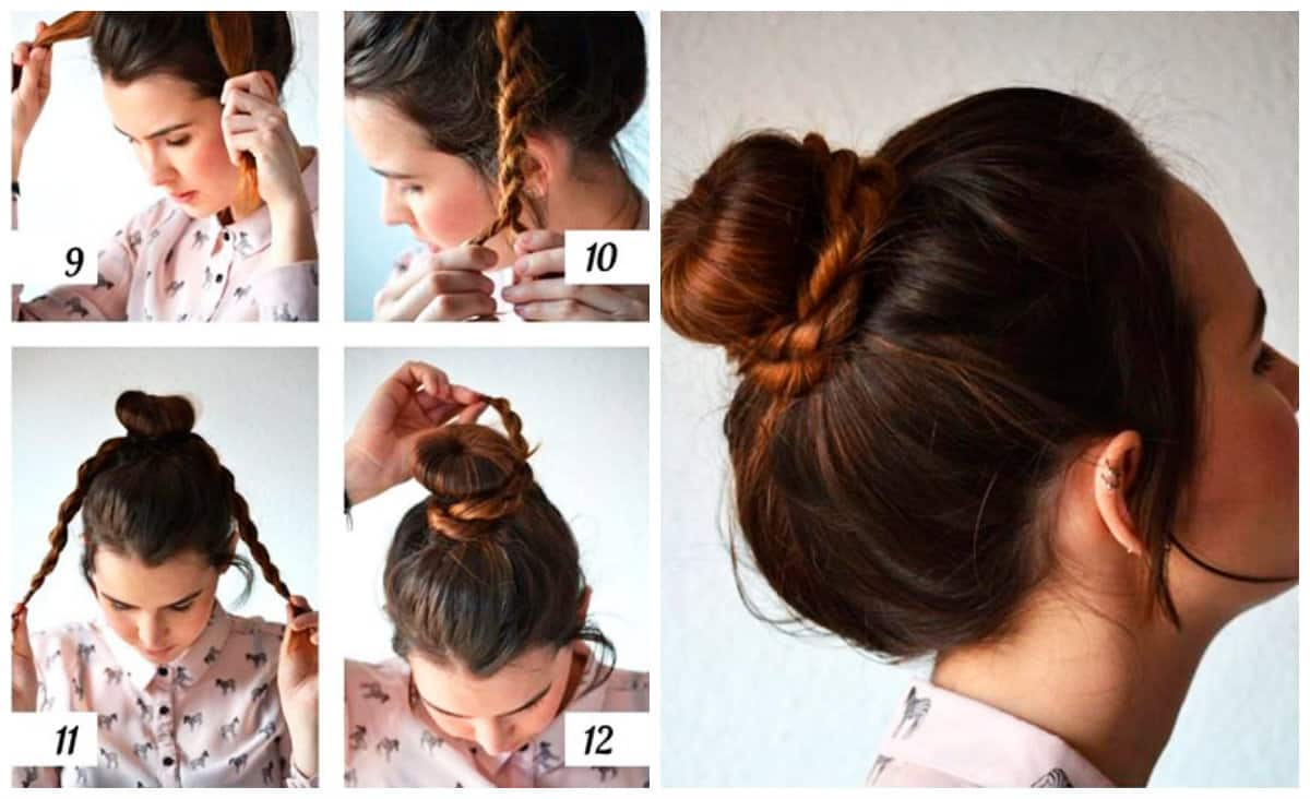 hairstyle for teenage girl 2019, bun with bagel updo step by step