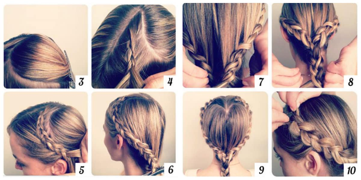 hairstyle for teenage girl 2019, spit-heart hairdo step by step