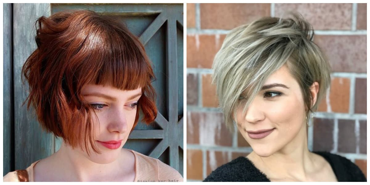 hairstyles with bangs 2019, pixie with long bangs, wavy bob with short bangs