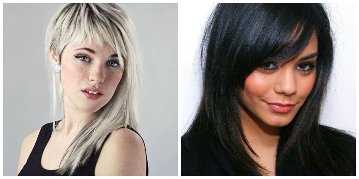 medium hair with bangs 2019, asymmetrical bangs on medium hair