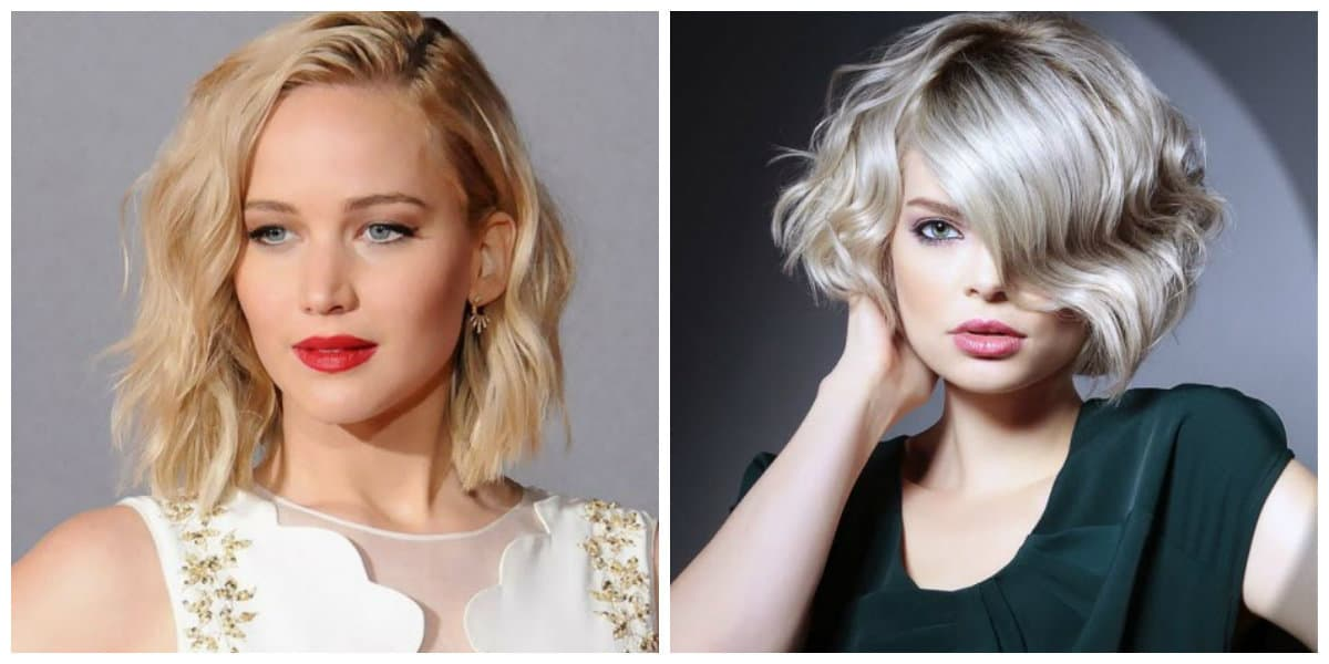 medium hair with bangs 2019, selection of medium updo with bang according to face type
