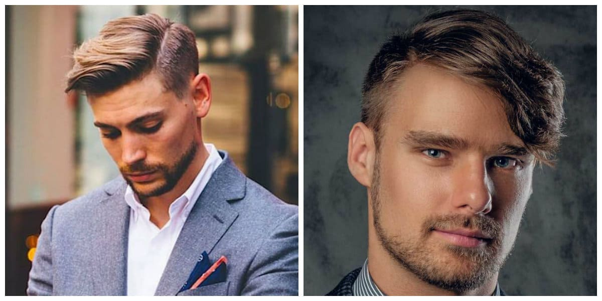 men short hairstyles 2019, asymmetric side parting of men's hairdos 2019