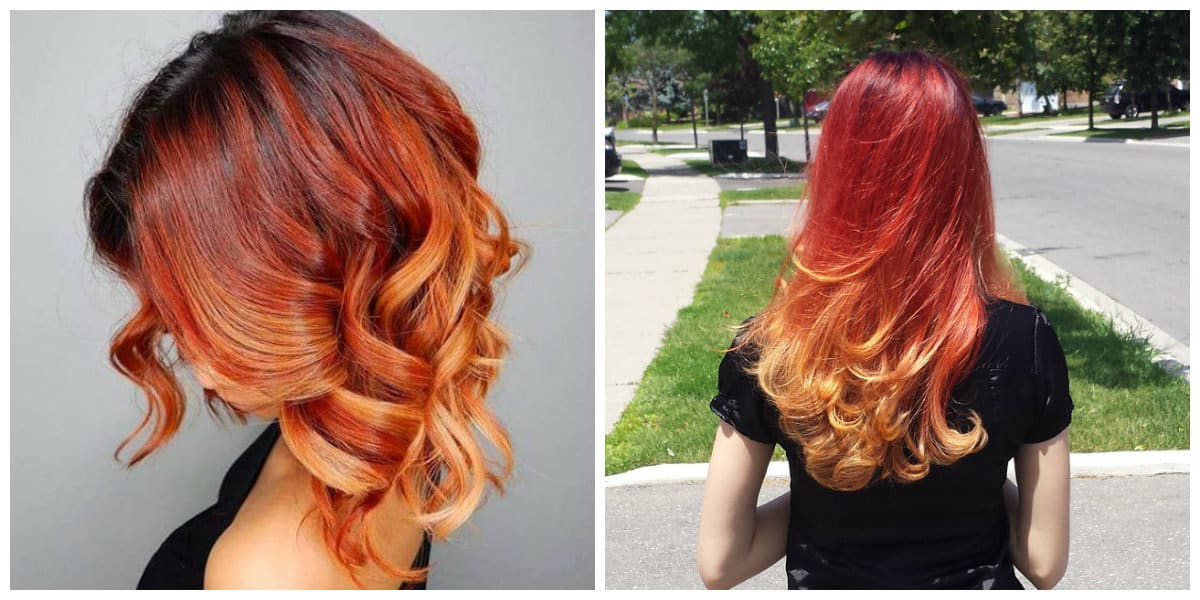 ombre hair color 2019, stylish redhead ombre hair 2019, red ombre hair 2019