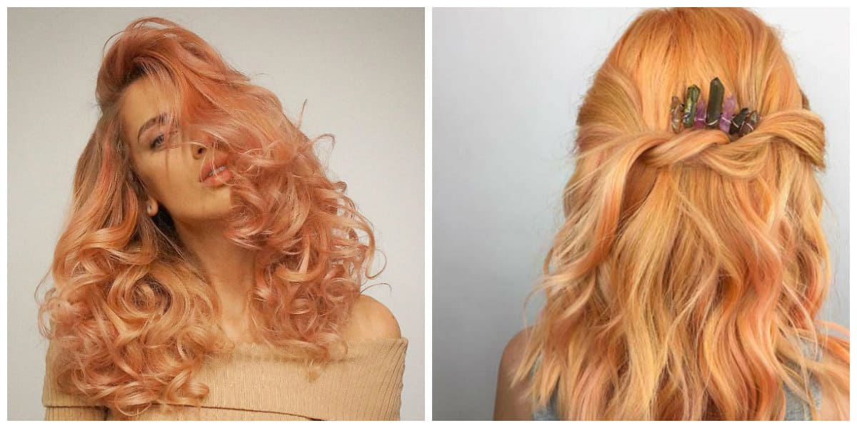 rose gold hair 2019, golden hair color with peach hair color