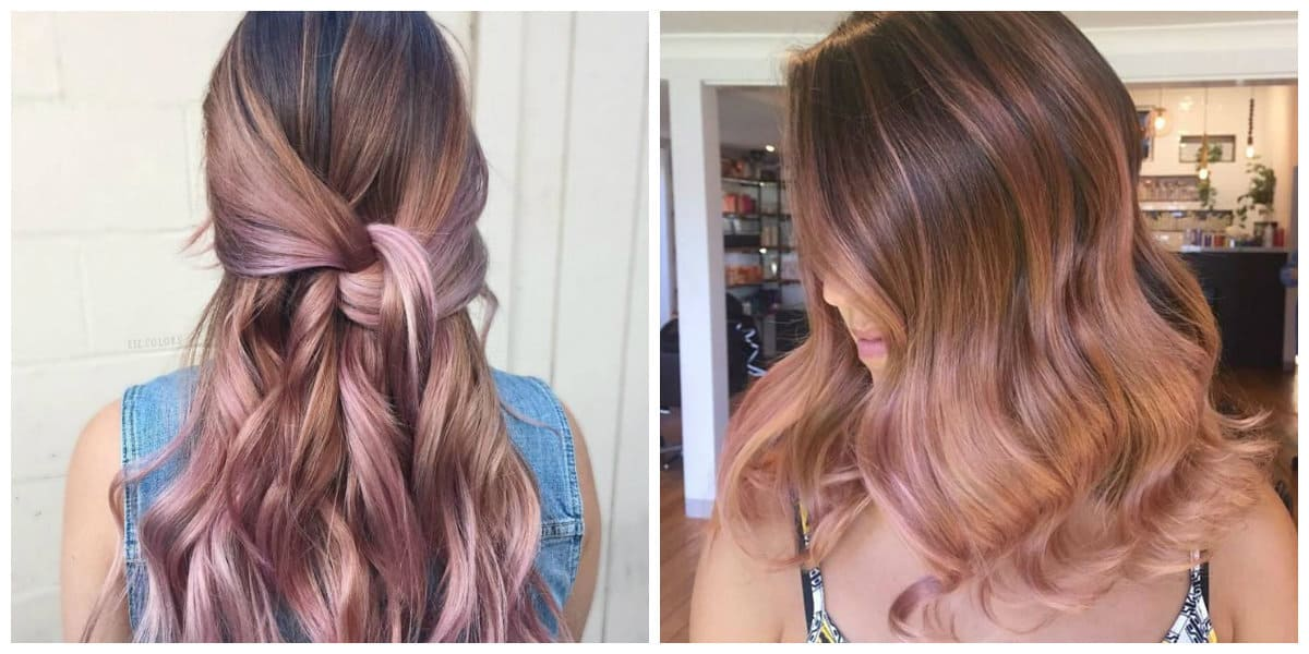 rose gold hair 2019, fashionable rose gold balayage hair 2019